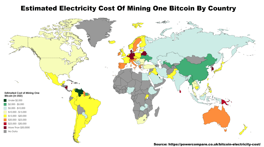 Estimated Electricity Cost of Mining 1 Bitcoin