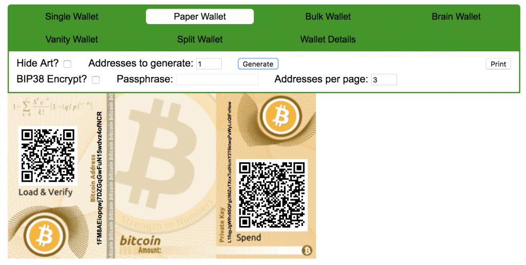 Bitcoin Paper Wallet - BitAddress